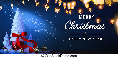 Art Christmas greeting card or banner background; Christmas tree and holidays light on blue background