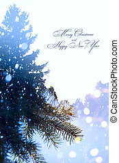 art Christmas holidays background; tree light