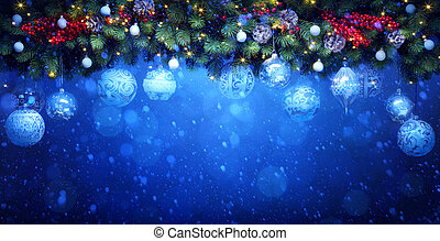 art Christmas  holidays decoration; Fir tree  Branches and white background on blue snowy background