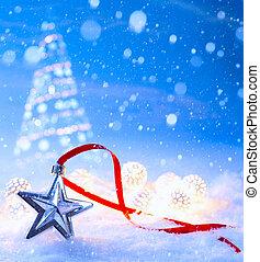 art christmas light decoration on blue snow background