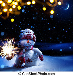 Art Christmas night - background with snowman in the snow