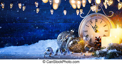 art Christmas or new year night; holiday banner background