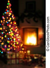 art Christmas scene with tree gifts and fire in background