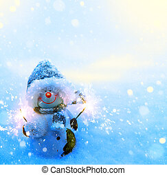 Art Christmas snowman and sparklers on blue snow background