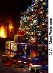 Art Christmas Tree and Christmas gift boxes in the interior with a fireplace