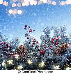 Art Christmas tree and holidays light decoration on blue snow background