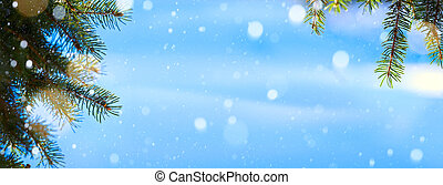 art Christmas tree background; Blue winter Christmas Landscape