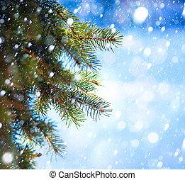 Art Christmas tree branch and snow fall