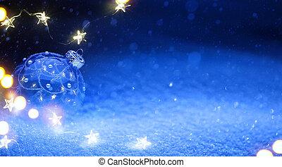 Art Christmas tree light and holidays decoration on blue snow background