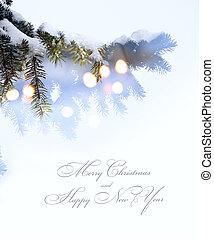 art christmas tree lights; white snow background