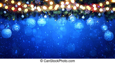 art Christmas Tree with Decorations Light on Blue Snow Background. New Year greeting Card or Holiday Banner.