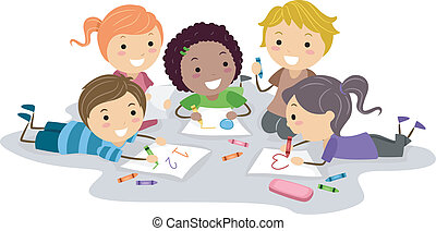 Art Class - Illustration of Kids Drawing with Crayons