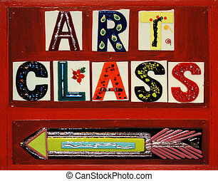 """signs that sayss """" Art Class"""" using ceramic tiles on a red, painted wooden sign"""
