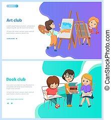 art, club, enfants, livre, école, webpage