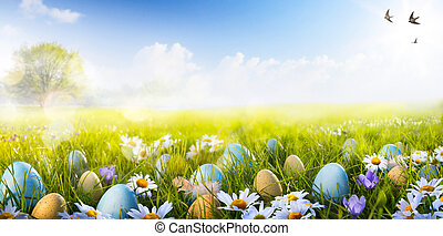 art Colorful Easter eggs decorated with flowers in the grass on