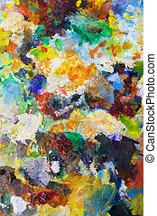 Art backgrounds on painting palette with mixed colors