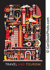Travel and Tourism - Art composition. Graphic design with...
