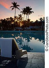 art, concept, coucher soleil, vacances, hawaien