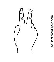 art corps, signe, deux, illustration, langue, 2, nombre, ligne, main, ou, geste
