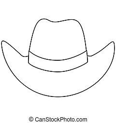 art, cow-boy, noir, ligne, chapeau, blanc