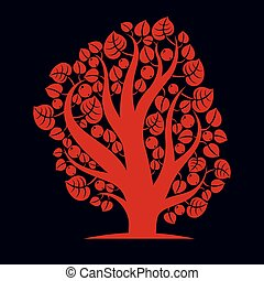 Art creative illustration of tree, stylized eco symbol. Insight vector image on season idea, beautiful picture.