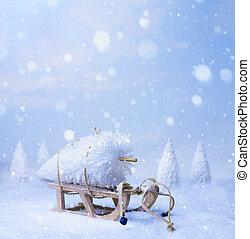 art, décoration noël, sur, neige bleue, fond