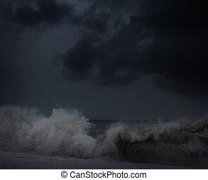 art Dark sea stormy background