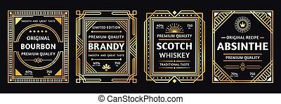 Art deco alcohol label. Vintage bourbon scotch, retro brandy...