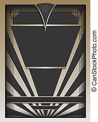 Art Deco inspired background design with frame and banner elements