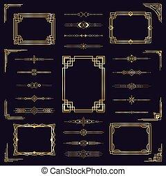 Art deco border frames. Vintage arabic golden elegant frames, modern gold antique decorative ornament isolated icons set