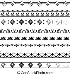 Art Deco Borders Style Line and Geometric Linear Design -...