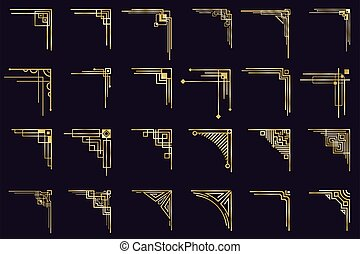 Art deco corners. Vintage gold arabic geometric borders, decorative golden dividers, antique elegant corners isolated icons set