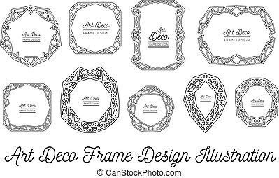 Art deco decorative frame. Wedding invitation. Vector