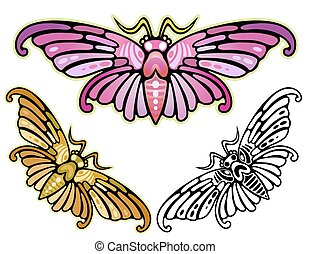moth - Art Deco depiction of a moth, inspired by Asian ...
