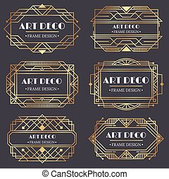 Art deco frame. Antique golden label, luxury gold business card letter title and vintage ornaments frames design vector elements
