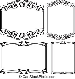art deco frame - art nouveau - black and white floral and ...
