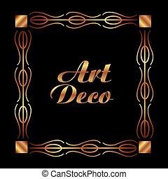 art deco frame elegant decorative square style