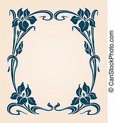 Art deco frame with iris.