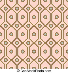 Art deco geometric pattern with net circle shapes in gold and blush colors.
