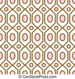 Art deco geometric pattern with net gem Ashapes in gold and blush colors.