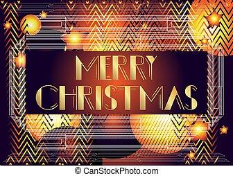 Art Deco Merry Christmas text.