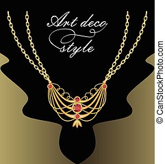 Art deco necklace with golden pendant on double chain, red cut gemstone decorated jewel, retro victorian style