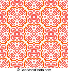 Geometric art deco pattern with organic floral shapes in bright coral red color. Texture in 1930s style for print, spring summer fashion, textile, fabric, wallpaper, gift wrapping paper, home decor