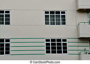 Art Deco style architecture in close up