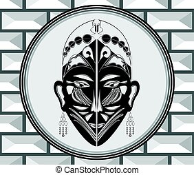 Art deco style ornament with ritual mask