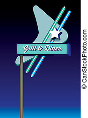 art deco style retro vintage diner signage