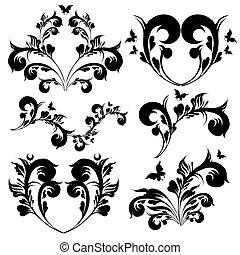 art deco swirls, black, isolated on a white