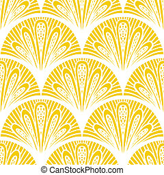 Art deco vector geometric pattern in bright yellow - ...