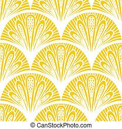 Art deco vector geometric pattern in bright yellow -...