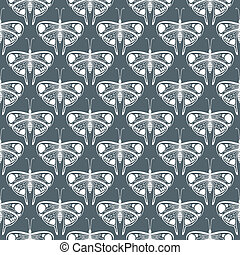 art deco vector pattern with butterflies